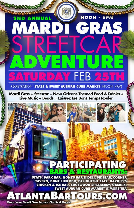 Pre-sale Tickets for 2nd Annual Mardi Gras Streetcar Adventure in Atlanta