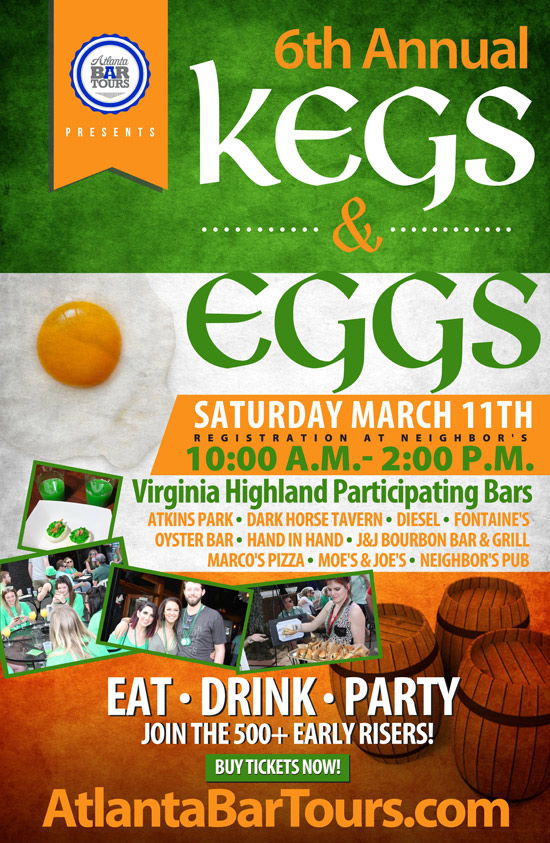 Pre-sale Tickets for 6th Annual Kegs & Eggs St. Patrick's Day Bar Crawl in Atlanta