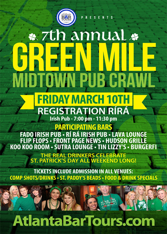 Pre-sale Tickets for 7th Annual Green Mile Midtown Pub Crawl in Atlanta