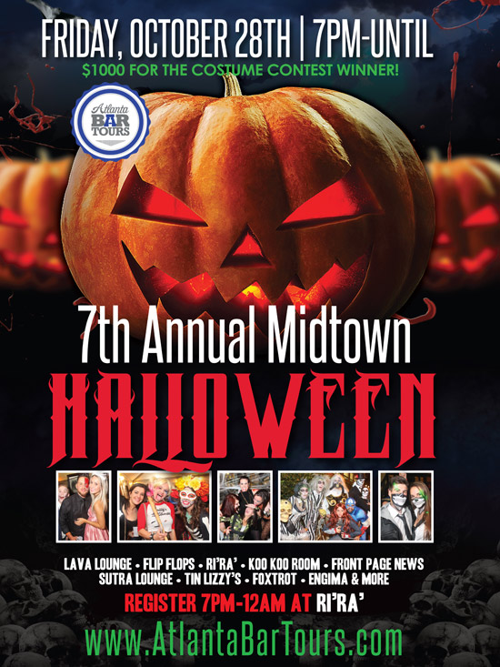 Pre-sale Tickets for 7th Annual Midtown Halloween Bar Crawl in Atlanta