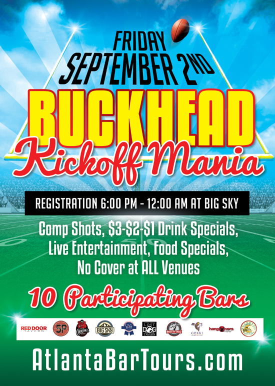 Pre-sale Tickets for 8th Annual Buckhead Kickoff Mania - 'A Kickoff Weekend Block Party'  in Atlanta