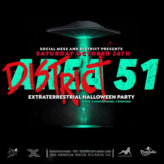 Pre-sale Tickets for District 51 Extraterrestrial Halloween Party in Atlanta