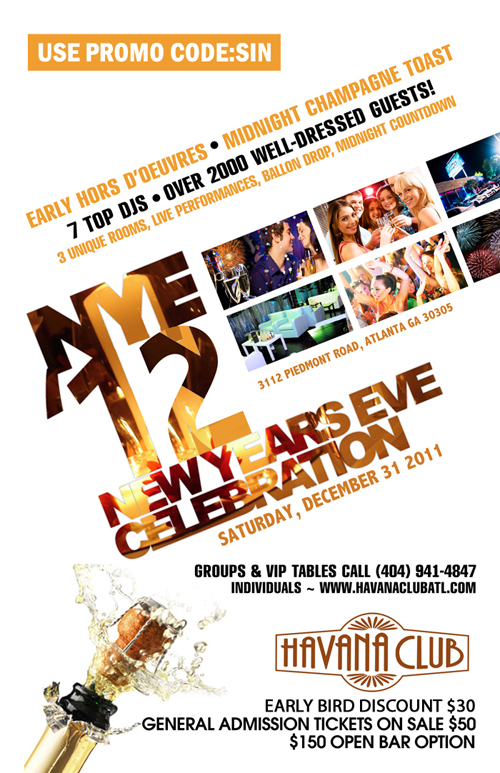 New year 39 s eve 2012 havana club in buckhead atlanta for Dive bar shirt club promotion codes