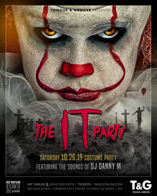 Pre-sale Tickets for The IT Party - Costume Party at Tongue and Groove in Atlanta