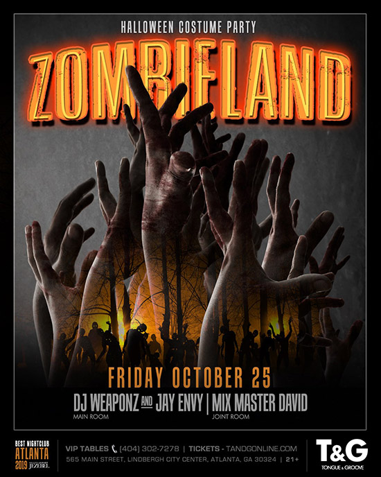 Pre-sale Tickets for ZOMBIELAND Halloween Costume Party in Atlanta